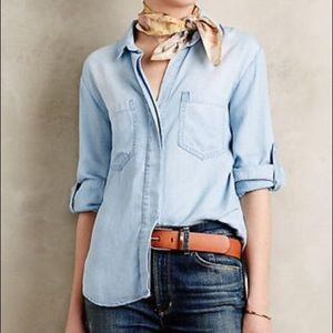 Anthropologie clothe & stone frayed chambray top S